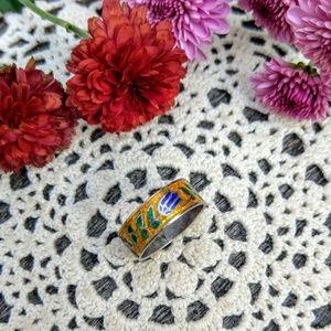 Vintage Siam 925 Sterling Floral Enamel Ring